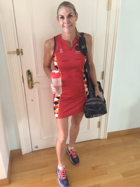 Danielle Taylor: getting ready for a netball game